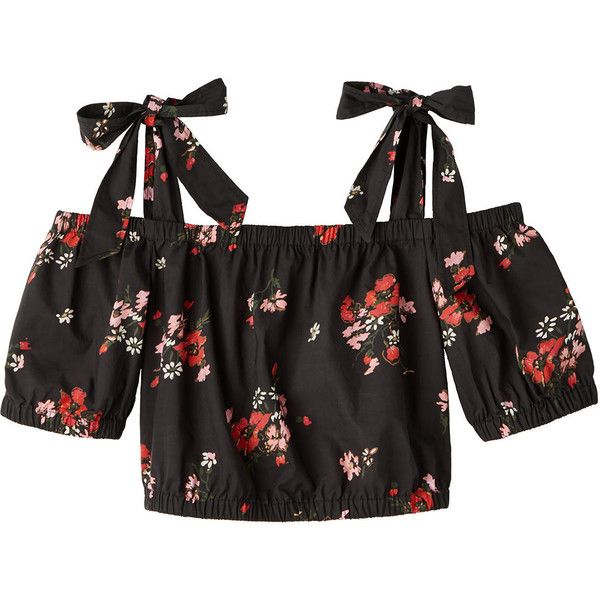 Open Shoulder Marguerite Floral Poplin Top ($250) ❤ liked on Polyvore featuring tops, floral tops, cropped tops, floral crop top, cut-out crop tops and cut shoulder tops
