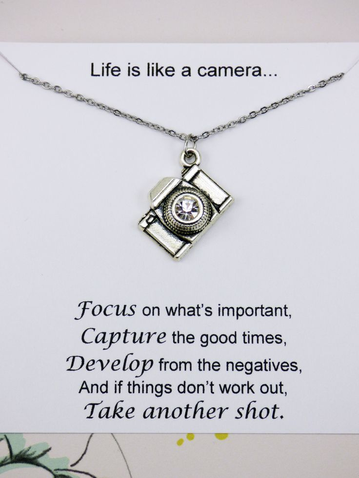 Camera reminder necklace. Meaningful necklaces are great for an inspirational gift. $9.95