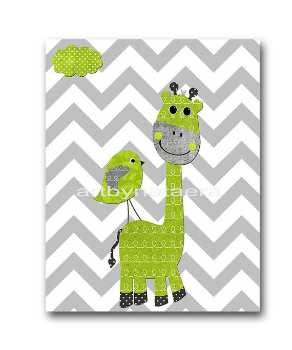 Giraffe Nursery Baby Boy Nursery Art Nursery Wall Art Baby