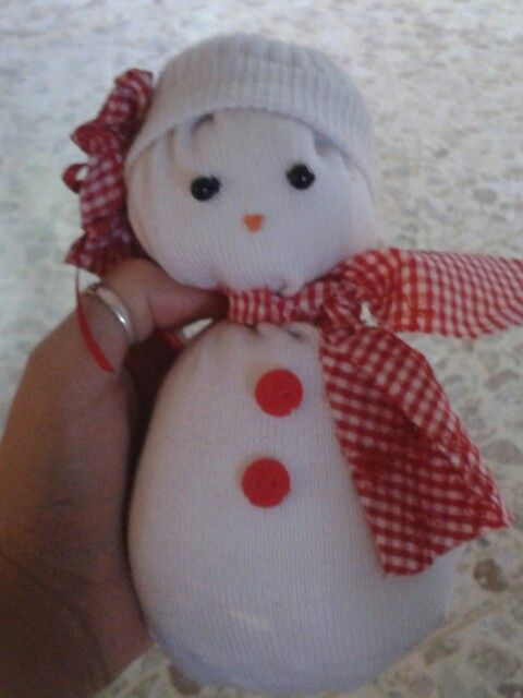 Christmassy snowgirl from an old sock!