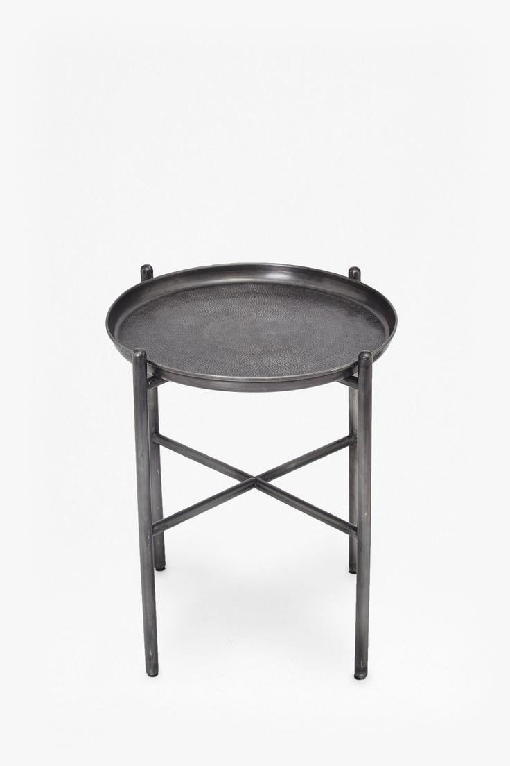 <ul> <li> Hammered iron side table in gunmetal finish</li