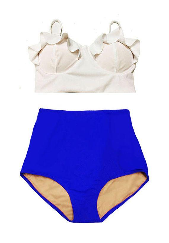 White Midkini Top und blau hoch taillierte Taille von venderstore