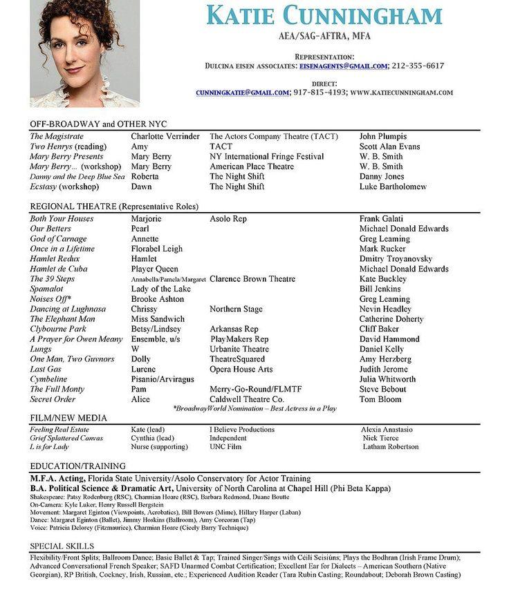 srz example acting resume template sample actors