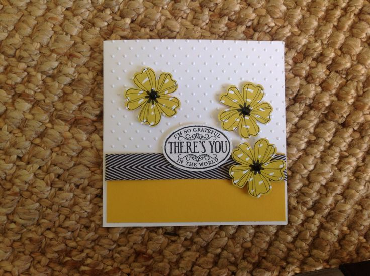 Stampin up - Flower Shop and Chalk Talk stamps. DSP, Crushed Curry card. Black Chevron Ribbon. Oval and Pansy punch. Perfect Polka Dots Embossing folder.