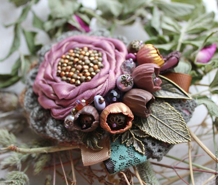 Fabric brooch / Купить Брошь. Сухая роза. бохо шик - розовый, пыльно-розовый, розы, сухие цветы