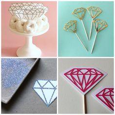 Diamantes de carton para decorar torta de cumpleaños