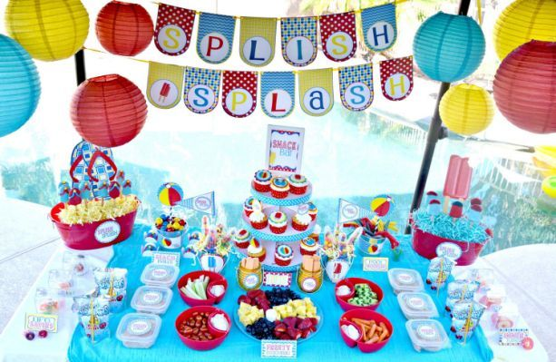 Kids Pool Party Decorations Home Pool Birthday Party Splish