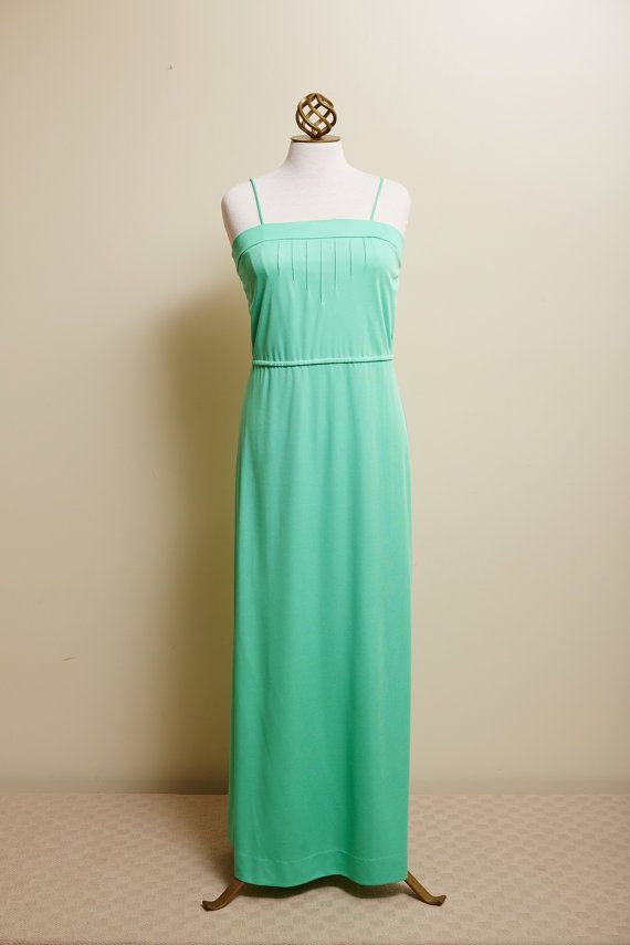 1970s Clovis Ruffin Ruffinwear Dress Set Green Maxi Dress with Short Sleeve Overcoat