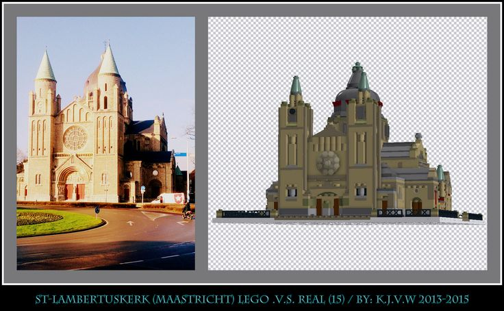 [ st-lambertuskerk lego .v.s. real part 15 ]    15 of the 19 photo's from my collage of St-Lambertuskerk (Maastricht) ((Non-lego))