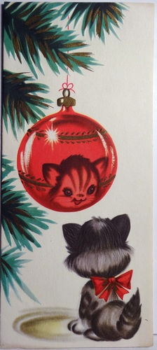 1950s Kitty Christmas Card