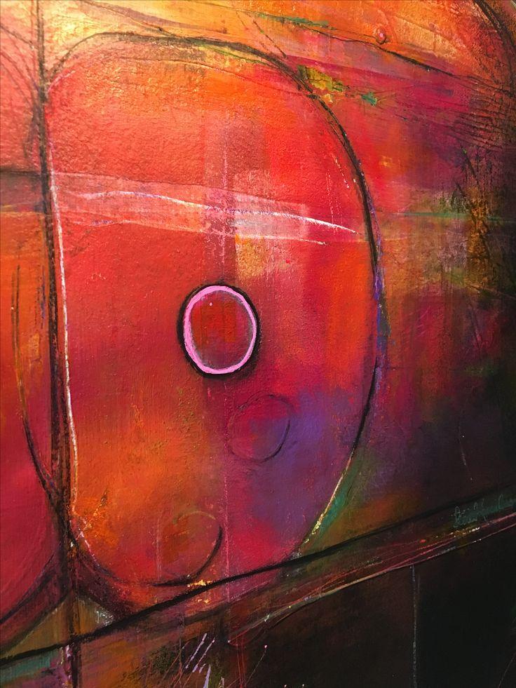 Detail of 100 x 80 cm canvas 'Secret Garden' Mixed media acrylic painting by Pauline Lindberg