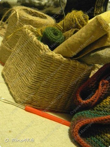 Мастер-класс Поделка изделие Плетение Обещанный МК корзиночки Коробки Шпагат фото 14