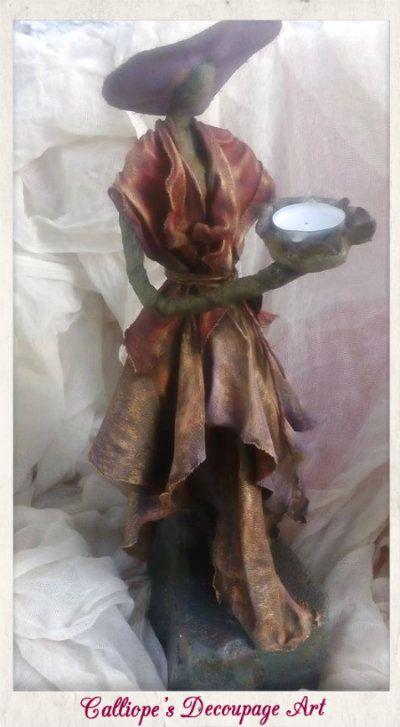 Γυναικείο Χειροποίητο Αγαλματίδιο-Βάση Ρεσώ με Powertex υλικά | Calliope's Decoupage Art