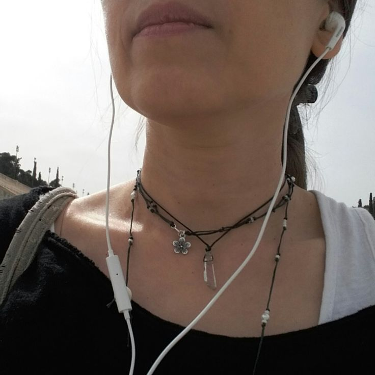 For a walk wearing inominos black linen cord necklaces