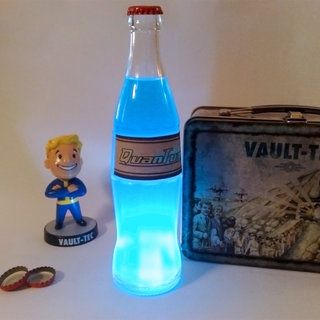 "~ Nuka-Cola Quantum Recipe: Two drops of Blue food Coloring, Two drops of Red food Coloring, One Foosh ""Seriously Caffeinated"" Mint, 1/3rds Sprite, 1/3rds Mountain Dew, 1/3rds Squirt! soda,Tonic water"