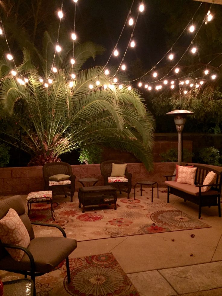 Outdoor Patio Area With Three Strings Of Lights From Costco   Best 10 Patio  Cafe Lighting