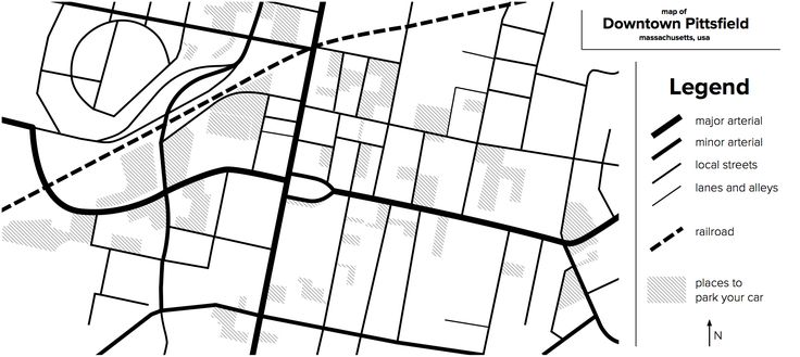 Week 1 - Apologies for the late start on this course, but I still wanted to try the first assignment! I'm Nick, and I live in western Massachusetts in the United States.  For this map, I digitally traced a map of my hometown of Pittsfield, a small city of just over 40,000.  I live just north of the circle in the center of town, and I love to get out and walk around the downtown as much as I can.  My background is in civil engineering, so I focused on the road and parking network around…