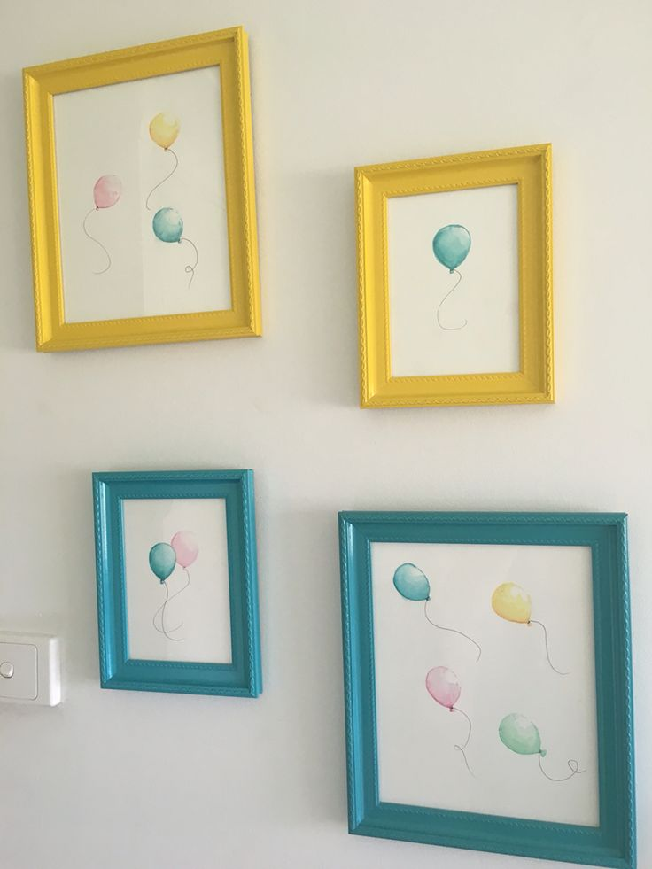 Watercolour Balloons my daughter painted for her niece's nursery