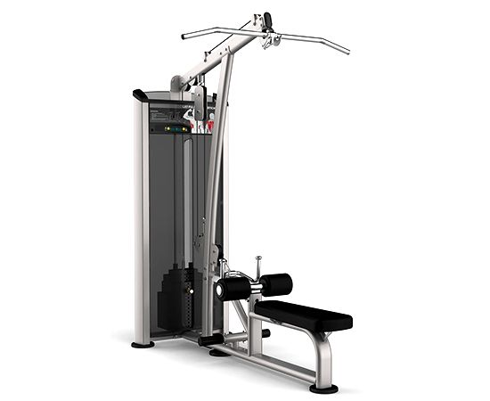 Lat-Pulldown-Gym-Machine  Description: Used for strengthening your latissimus dorsi muscle, or lats as they are known. Pull downwards toward you, keeping your elbows and back straight. Google a picture of Bruce Lee and you'll see the lats you're capable of attaining with this machine.