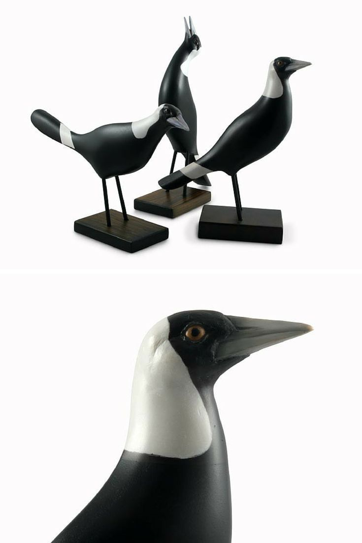 Here in its' typical watching pose, this hand carved bird gives a true representation of the Magpie's unique character and personality. The body of the bird is hand crafted from sustainable Camphor Laurel and the head from resin and hand painted.