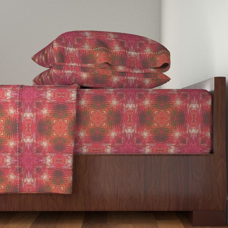 NEW WEAVE KILIM FUCHSIA RED ECRU on Langshan Sheet Set by paysmage | Roostery Home Decor