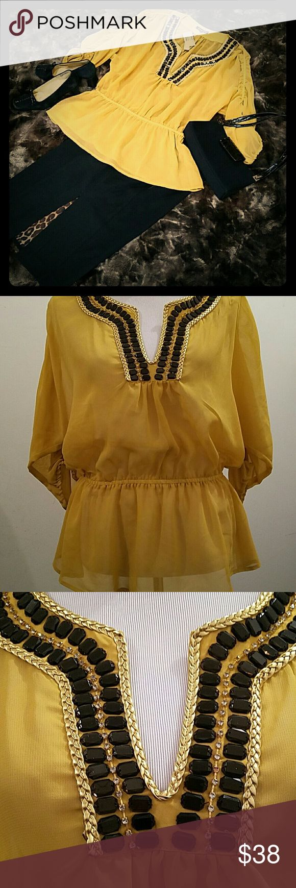 NWT Adrienne Vittadini yellow sheer top NWT Adrienne Vittadini yellow sheer top can be worn over a camisole, bralette or tank. Figure flattering as it gathers at the waist. Adrienne Vittadini Tops Blouses
