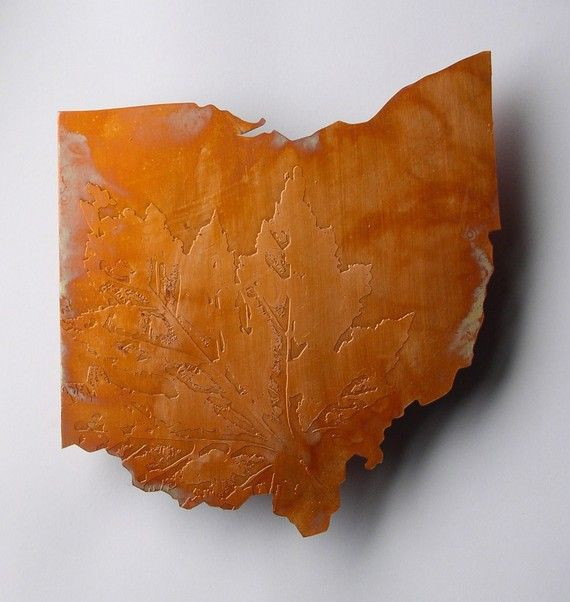 Copper Art Map of Ohio state by CopperLeafStudios on Etsy