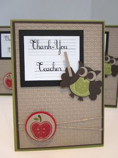 Stampin' Up UK Demonstrator Sarah-Jane Rae Cards and a Cuppa blog: Teachers Cards!