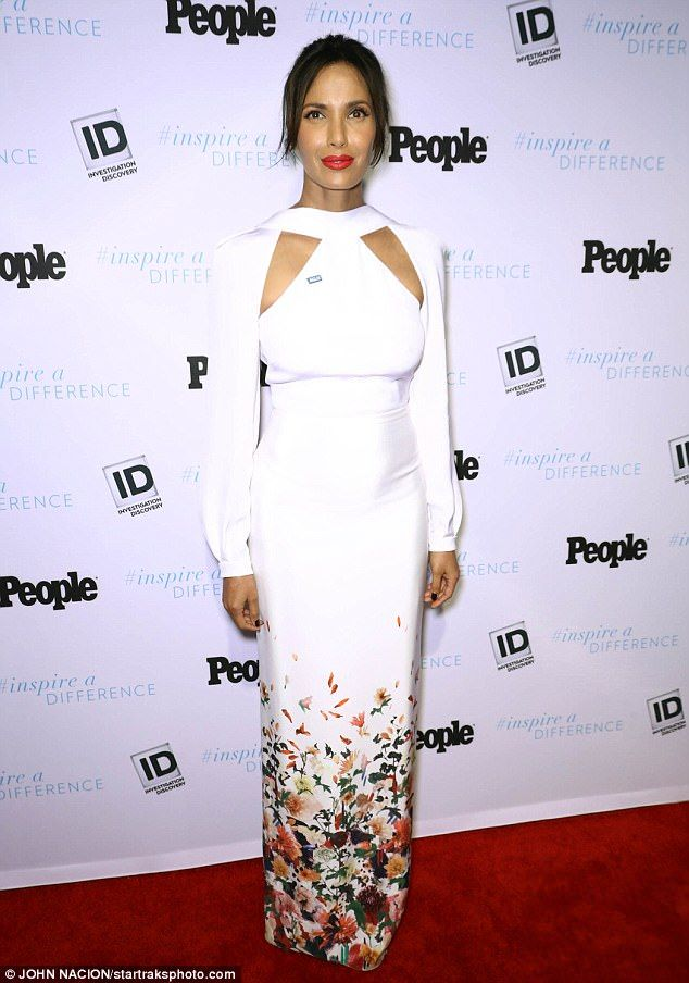 In bloom: Top Chef's Padma Lakshmi looked white hot in a long-sleeved halter gown at the Inspire a Difference Honors inside Manhattan's Dream Hotel on Thursday