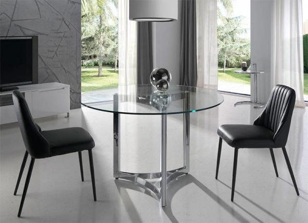 Modern round glass dining table choice of size by angel for Angel cerda
