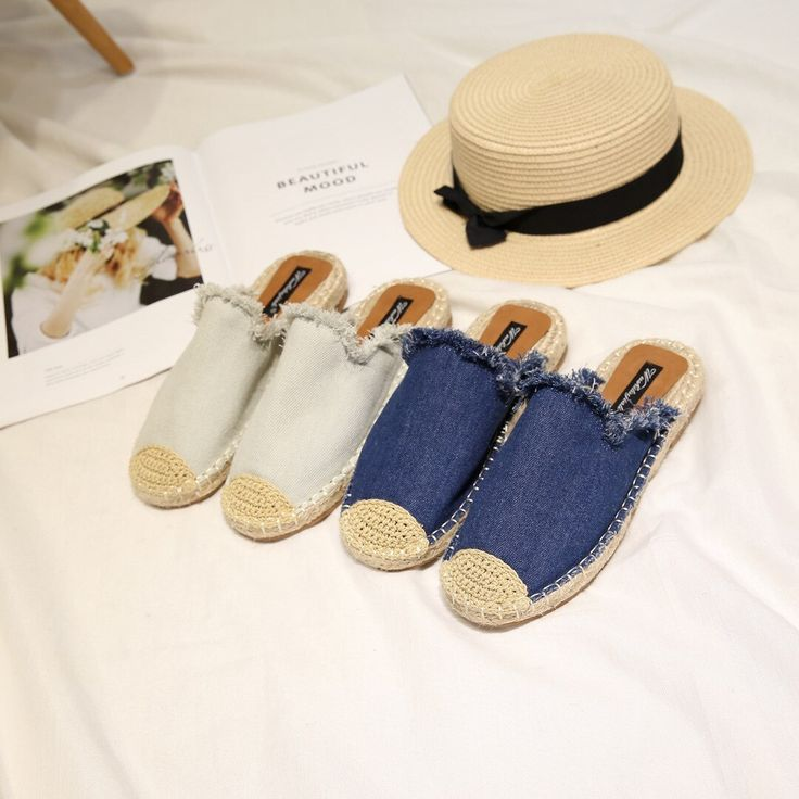 2019 Spring Summer Denim Women Slippers Linen Cowboy Slides Canvas Espadrilles Mules Shoes Sapatos Femininos