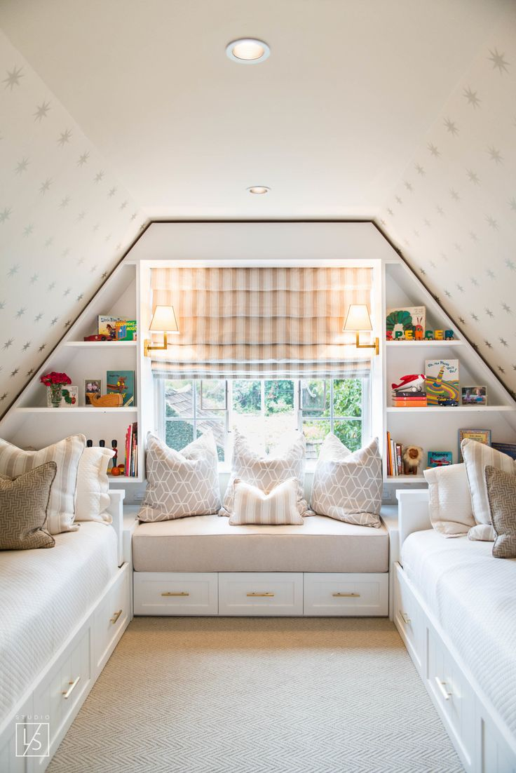 729 best bunk rooms kids images on pinterest bunk rooms attic bedroom for the kids with a bench built in shelving