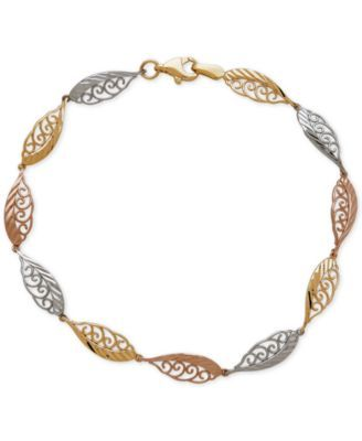 """Tri-Tone Feather-Look Filigree Link Bracelet in 14k Yellow, White and Rose Gold $382.99 Ethereal and whimsical, this bracelet features feather-look filigree links designed in 14k yellow, white and rose gold. Approximate length: 7-1/2""""."""