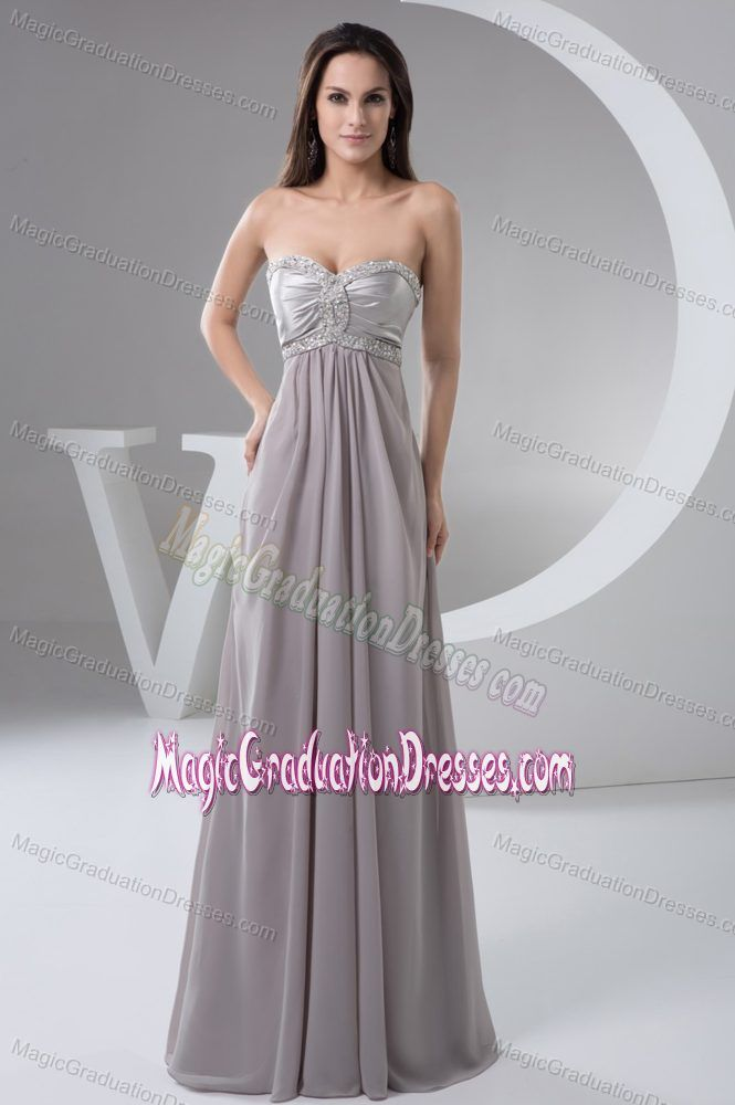 Gray Beads and Ruches Accent Graduation Dresses for Middle School in Balmaha