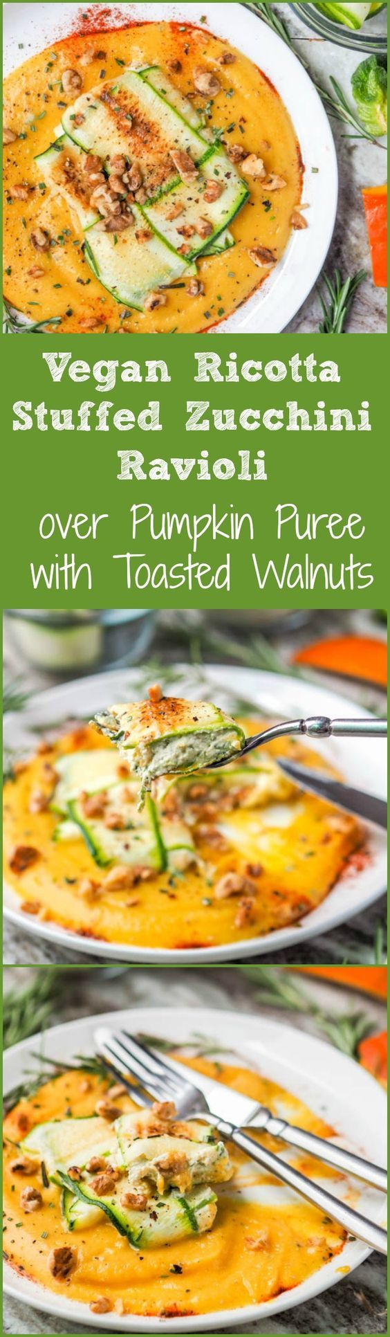 Your favorite fall pumpkin rosemary flavors topped with a vegan ricotta stuffed zucchini ravioli and sprinkled with toasted walnuts. Dinner doesn't get better than this. Who knew it'd be so easy to make zucchini ravioli paleo, low carb and gluten free? #vegan #paleo #zucchini #ravioli #dinner #healthy via @acoupletravelers
