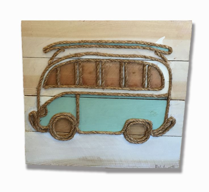 Original, one of a kind, rustic wall art featuring rustic wood, rope and paint shaped into a retro VW bus. Signed by the artist and ready to hang on in your covered porch or lanai. Free shipping on th