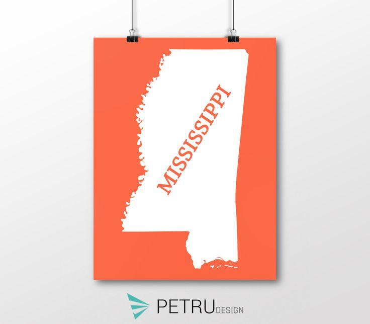 Mississippi print - Mississippi art - Mississippi poster - Mississippi wall art - Mississippi printable poster - Mississippi map by Exit8Creatives on Etsy