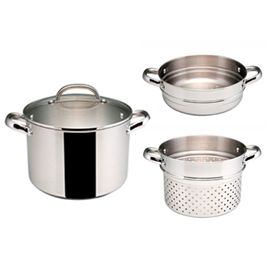 RACO Stockpot with Pasta Insert and Steamer Insert. Oven safe and stainless steel.