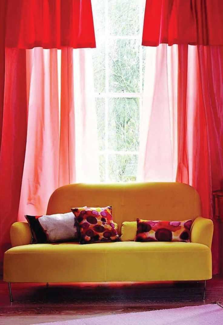 Living room curtains red - Bright Yellow Couch Red Curtains