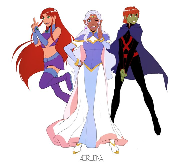 """Charlie's Aliens"" - Starfire, Allura, Miss Martian - by aer-dna - Voltron / Teen Titans / Young Justice"