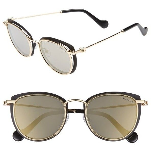 ede9f25e79c9 Women s Moncler 50Mm Mirrored Geometric Sunglasses ( 545) ❤ liked on  Polyvore featuring accessories