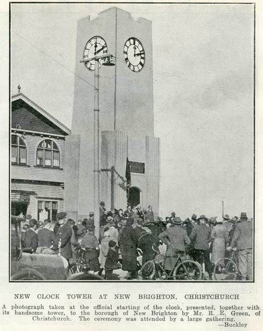 NEW CLOCK TOWER AT NEW BRIGHTON, CHRISTCHURCH - Auckland Libraries