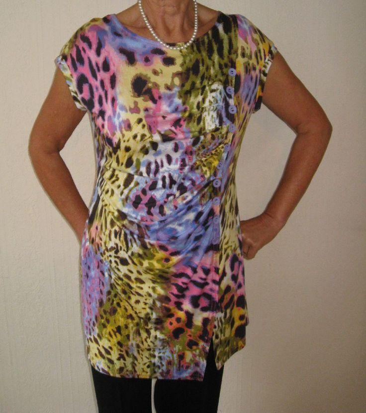 Joseph Ribkoff 10378 Multi Yellow Pink Leopard Tunic