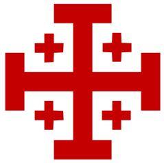 La cruz de Jerusalén, que los padres franciscanos la adoptaron como su insignia