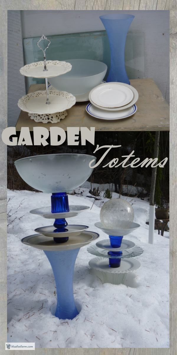 Garden Totems - glass flowers, towers and trinkets... Garden Art | Glass Dish Totems