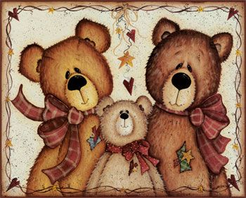 mary+ann+june+primitive+bear+pictures | Art Print - We Three Bears by Mary Ann June