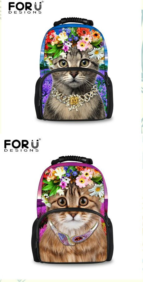 Cute Fashion Cat Women Ladies Large Backpack Rucksack School Travel Day Pack Bag