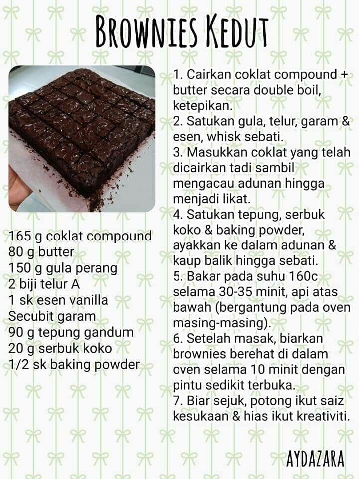 Brownies Kedut Cake Recipes Resepi Brownies Snack Cake
