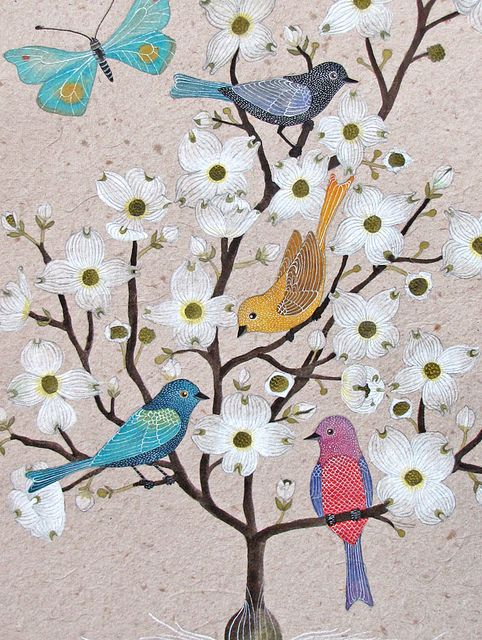Birds in a blossomed tree