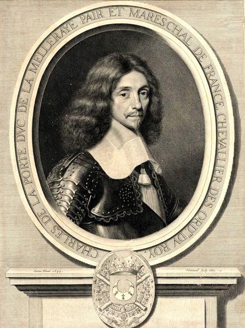 """Maréchal duc de La Meilleraye (Charles de La Porte). - 5) CHARLES DE LA PORTE: Le 29 juin 1639, Louis XIII le fait maréchal de France """"sur la brèche"""" de la ville de Hesdin. En 1641, il achète la baronnie de Parhenay. Nommé surintendant des Finances en 1648, il reste un des fidèles de la royauté durant les troubles de la Fronde. En 1653, il légitime le fils qu'il avait eu de Catherine Fleury, Charles de Montgogué."""